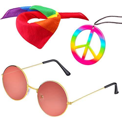 Beelittle Hippie Costume Set - 60's Circle Glasses Peace Sign Necklace Hippie Headband 70s Party Accessories for Men Women (E)