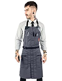 Under NY Sky No-Tie Barber Gray Apron – Coated Heavy-Duty Nylon, Water and Chemical Resistant, Zipped Pockets, Split-Leg – Adjustable for Men, Women – Pro Hair Stylist, Colorist, Artist, Bartender