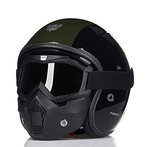 Casco de Motocicleta Harley Casco Retro Personalidad Casco Militar Príncipe Casco Casco de Motocicleta Hombres (Color : A,...
