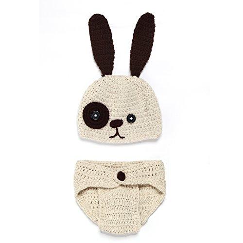 Cute Dog Handmade Costumes (Luoke Unisex Newborn Baby Cute Dog Handmade Crochet Cap Outfit Baby Costume Photography)
