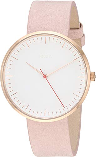 Fossil Women's 'The Essentialist' Quartz Stainless Steel and Leather Casual Watch, Color:Beige (Model: - Gold And White Watch Rose Fossil