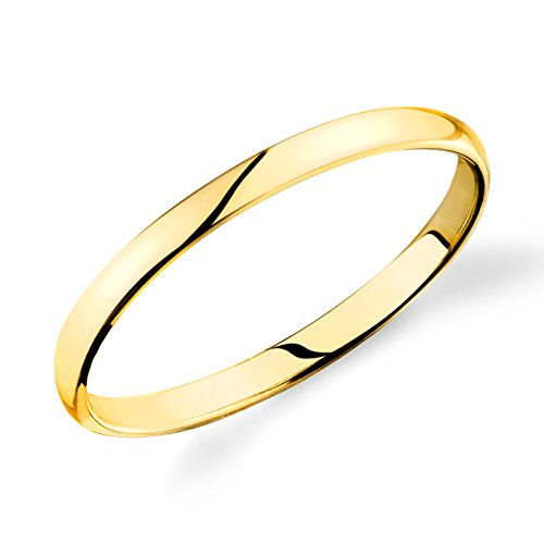 14k Yellow Gold 2mm Plain Wedding Band Light Comfort Fit Ring by Engagement Ring by Lovearing