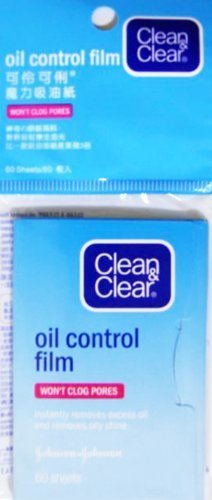 Clean & Clear Oil Control Film Blotting Paper, Oil-absorbing Sheets for Face, 60 Sheets (Pack of 4) by Clean & Clear