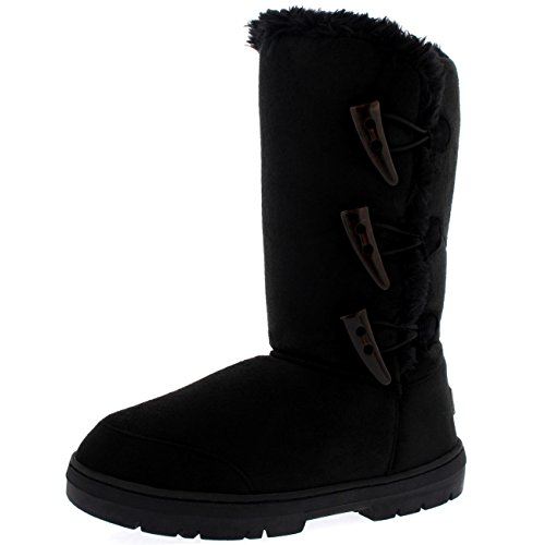 Mujer-Triplet-Toggle-Classic-Tall-Fur-Impermeable-Invierno-Rain-Nieve-Botas