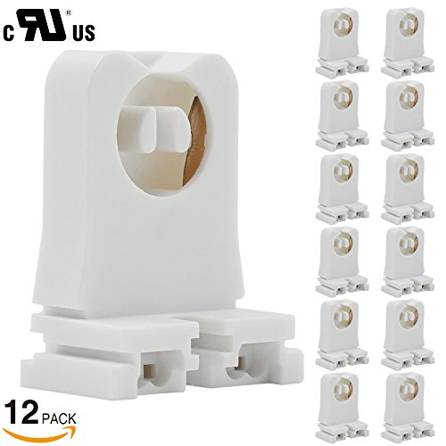 12 Pack Non Shunted Turn Type T8/T12 Lamp Holder Tombstone   UL Listed T8  Sockets Medium Bi Pin Sockets For LED/Fluorescent Tube Light Replacements  ...
