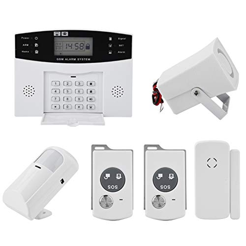 Auto Dial Alarm System - Wireless GSM Home Security Anti-Burglar House Door Alarm System with Auto Dial Motion Detectors and More for Complete Security (US Plug)