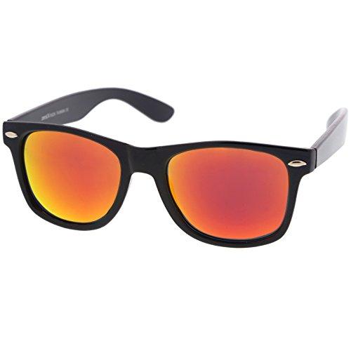 zeroUV - Retro Colored Mirror Polarized Lens Square Horn Rimmed Sunglasses 55mm (Black / Orange - Tinted Sunglasses Orange