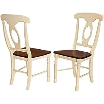 A America British Isles Napoleon Side Chair   2 Chairs, Merlot Buttermilk
