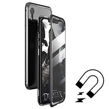 Funda para iPhone 8 7 Carcasa Adsorcion Magnetica 360 Grados Proteccion Flip Cover Doble Háptico Vidrio Templado Imanes Fuertes Marco Aluminio Anti ...