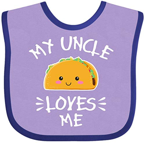 Inktastic My Uncle Loves Me with Taco Illustration Baby Bib Lavender and Purple