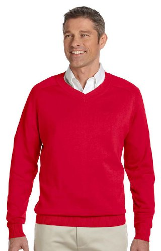 - DJ MENS CLASSIC V NECK SWEATER (RED) (L)