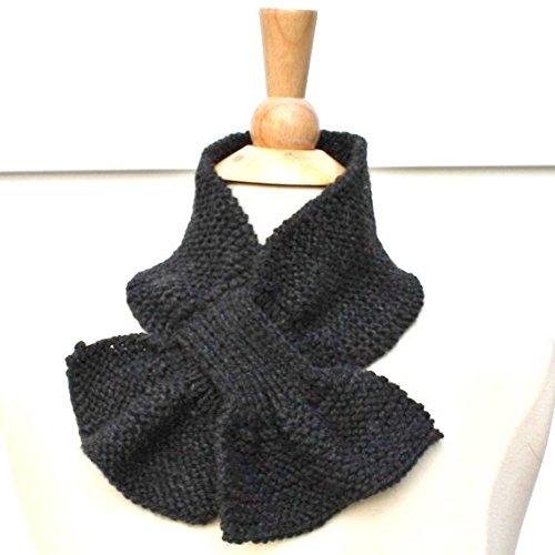 Amazon Dark Gray Knit Keyhole Scarf Handmade