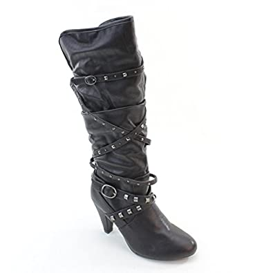 Amazon.com | New Brieten Women's Kitten Heel Wide Calf Knee High ...