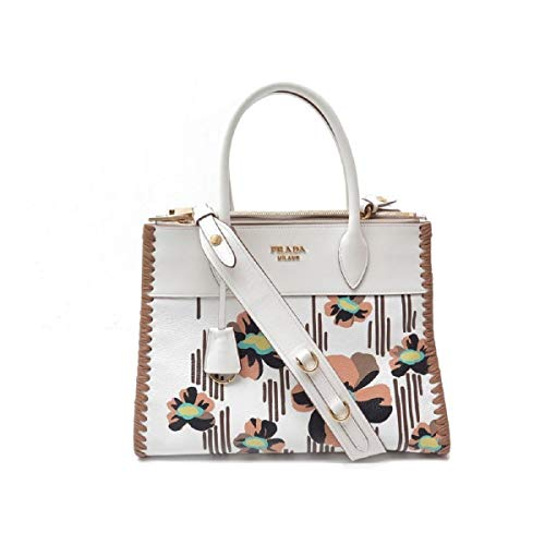 (Prada Paradigme Imprime Madras Floral Pattern White Leather Handbag Satchel 1BA102)