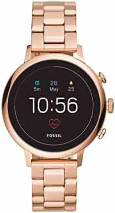 Fossil Women's Gen 4 Q Venture HR Stainless Steel Touchscreen Smartwatch, Color: Rose Gold (Model: FTW6018)