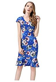 Buenos Ninos Women's Cap Sleeve Floral V-neck Bodycon Mermaid Pencil Midi Dress