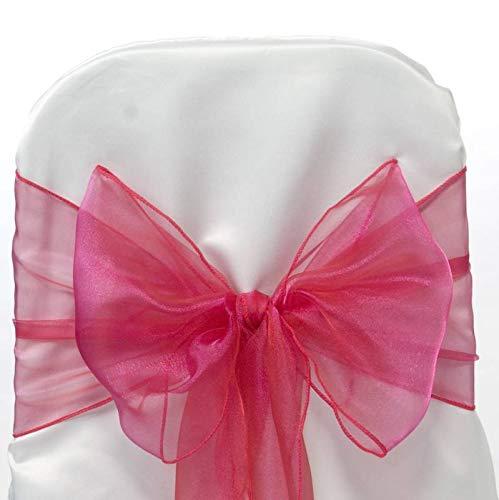(VDS - 50 PCS Elegant Organza Chair Bow Sashes Bows Ribbon Tie Back sash for Wedding Party Banquet Decor - Magenat)