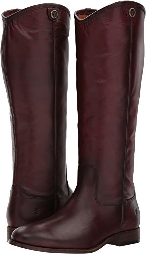High Pull Knee (FRYE Women's Melissa Button 2 Riding Boot, Wine, 6 M US)