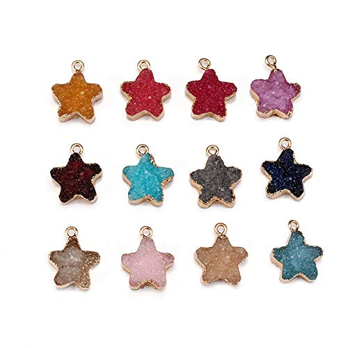 Forise 12pcs New Fashion Faux Druzy Quartz Jewelry Connector Star Resin Stone Fit for Charms Jewelry Bracelet Earring Pendant(Star)