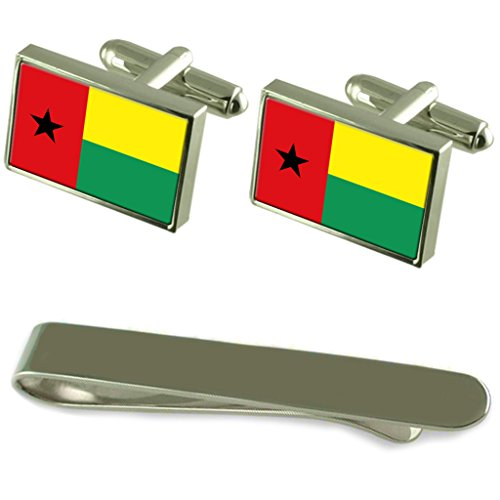 Guinea-Bissau Flag Silver Cufflinks Tie Clip Engraved Gift Set by Select Gifts