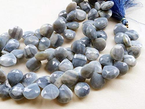 KALISA GEMS Beads Gemstone 1 Strand Natural Blue Opal Faceted Heart Briolette Beads, Blue Opal Necklace, 14mm Approx, 8 ()