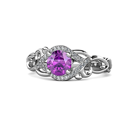 Amethyst and Diamond (SI2-I1, G-H) Swirl Engagement Ring 1.11 ct tw in 14K White Gold.size 8.5 ()
