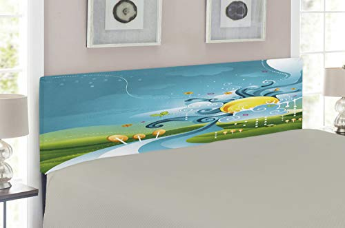 Lunarable Kids Headboard for Queen Size Bed, Cartoon Style Abstract Design Natural Landscape View with Forest Sun Clear Sky, Upholstered Metal Headboard for Bedroom Decor, Blue Green Yellow