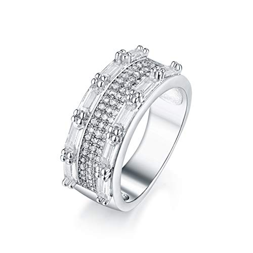 PORI JEWELERS 925 Sterling Silver 7.7mm Inlay Crystal Ring - Multiple (7)