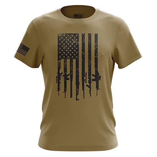 Shirts Khaki Military (The Fighting Forces American Military Rifle Flag T Shirt, Desert Khaki - Large)