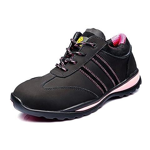 Women's Cow Leather Running Lightweight Steel Toe Training Work Shoe JACKBAGGIO 8820 (7, Black)