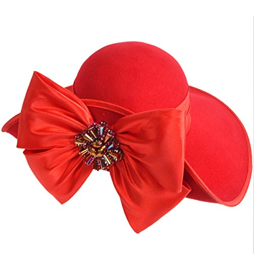 Women Wool Felt Plume Kentucky Derby Church Dress Wide Brim Winter Hat (Z0013-Red)