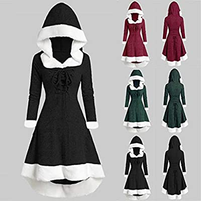 Muranba Womens Dresses Winter Fashion Long Sleeve Patchwork Hooded Vintage Dress Party Dress