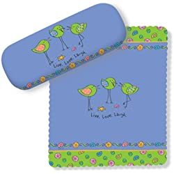 Pretty Little Birds Live Love Laugh Eye Glasses Case and Lens Cloth