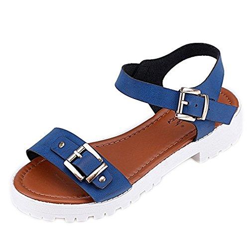 Secret paradise Womens Ladies Toe Verano Flat Flip Flop Sandalias Azul - azul