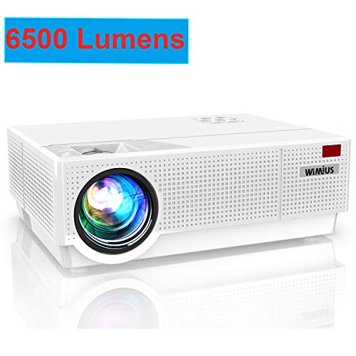 "Projector, WiMiUS Newest P28 6500 Lumens LED Projector Native 1920×1080 Video Projector Support 4K Dolby 300"" Screen 4D ±50°Keystone Correction for Home Theater and PPT Presentation"