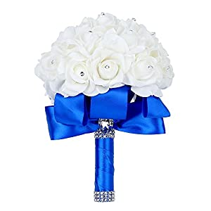 Febou Wedding Bouquet, Big Size Blue Bridesmaid Bouquet Bridal Bouquet with Crystals Soft Ribbons, Artificial Rose Flowers for Wedding, Party and Church (Blue Big Size) 34