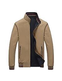 RongYue Men's Casual Reversible Cotton Jacket Light Windbreaker Jacket