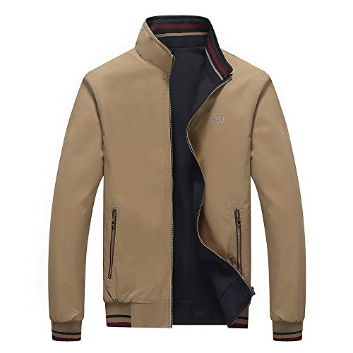 (RongYue Men's Fashion Slim Jacket Lightweight Cotton Coat)