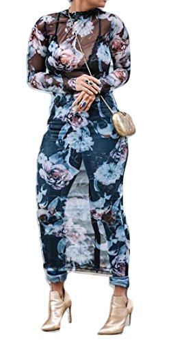 Cromoncent Femmes Mode Impression Sexy Maille Extensible À Manches Longues Bleu Robe Longue