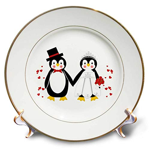 (3dRose cp_164801_1 Cute Red Hearts Penguin Bride and Groom Wedding Couple-Porcelain Plate, 8-Inch )