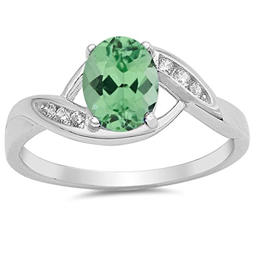 Oval Green Natural Emerald - 925 Sterling Silver Faceted Natural Genuine Green Emerald Oval Ring Size 8