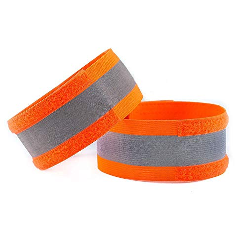 (Quaanti Reflective Armband Wristbands Belt Strap, Reflective Ankle Bands, High Visibility and Safety for Jogging, Walking, Cycling - Works as Wristbands,Armband,Leg Straps,Outdoor Sports 1PC (Orange))