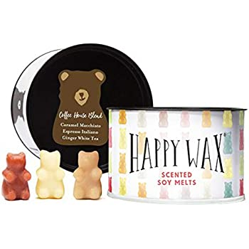 Happy Wax Coffee Mix Scented Soy Wax Melts - 3.6 Oz. Tin - Over 100 Hours Burn Time! [Caramel Macchiato, Espresso Italiano, Ginger Tea]