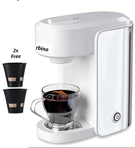 Coffee Maker Single-serve compatible with K-cup pods, 2x free reusable ground coffee pods, Stainless Steel/White, 10 OZ(300ml),Auto Shut Off,1000 Watts