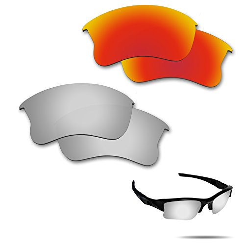 Fiskr Anti-saltwater Polarized Replacement Lenses for Oakley Flak Jacket XLJ Sunglasses 2 Pairs - Clear Oakley Jacket Lenses Flak