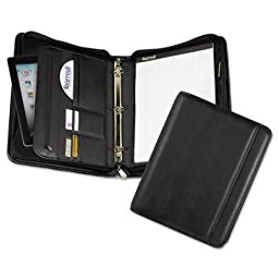 Professional Zippered Pad Holder/Ring Binder, Pockets, Writing Pad, Vinyl Black, Sold as 1 Each