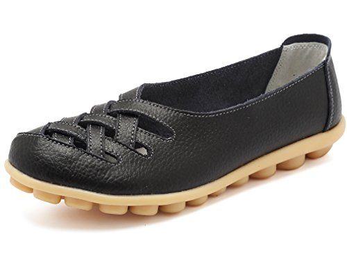 Mocassino Donna In Pelle Casual Keesky Taglio Mocassino Nero