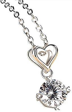 WEIKAI Collar para Mujer Imitación De Un Solo Diamante Moissanite Flash Colgante De Diamante Femenino Cuatro Garras Amor Corazón Cadena De Clavícula Platino Colgante De 1 Quilate