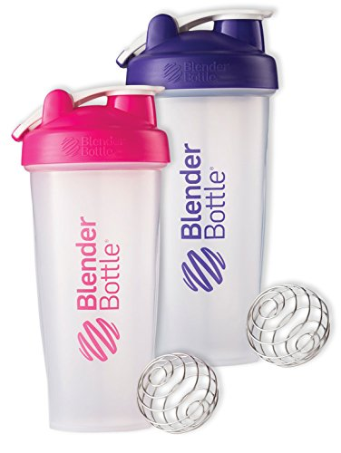 28 Oz. Hook Blender Bottle W/wire Shaker Ball Bundle-Clear Pink/Clear Purple