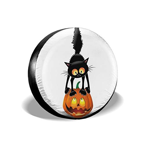 GULTMEE Tire Cover Tire Cover Wheel Covers,Black Cat On Pumpkin Spooky Cartoon Characters Halloween Humor Art,for SUV Truck Camper Travel Trailer Accessories(14,15,16,17 Inch) 14]()